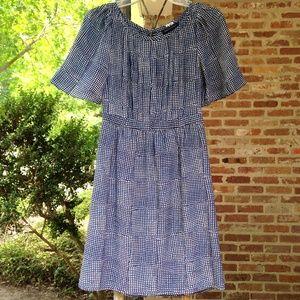 Banana Republic Blue & White A-line Print Dress 0P